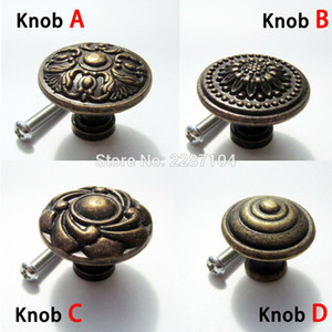 Wholesale Antique brass Vintage Round Flower Furniture Cabinet Cupboard Dresser Chest Closet Drawer Door Window Handle Pull Knob