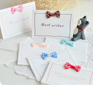 Wholesale 12 types bowknot lovely mini greeting cards for parties supplies message card invitation cards wishes cards