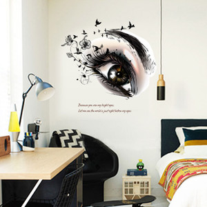 Wholesale art desigh beautiful eyes wall stickers home decoration living room kids bedroom beauty salon wall decals vinyl mural