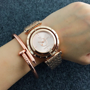 Wholesale Fashion Pan Brand Women s Girls Rotate dial style Stainless steel band Quartz wrist Watch P20
