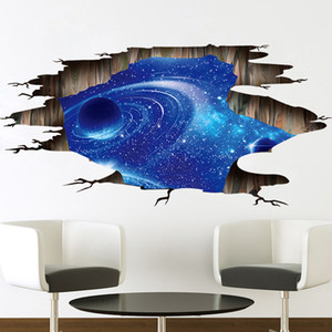 New Fashion Outer Space Planets 3D Wall Stickers Cosmic Galaxy Wall Decals For Kids Room Baby Bedroom Ceiling Floor Decorations
