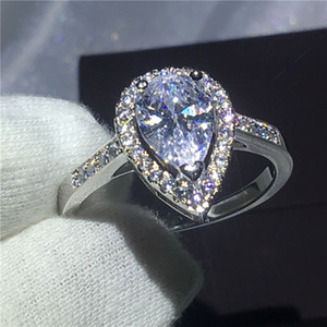 Wholesale Heart love ring Sterling silver Engagement wedding band rings for women Pear cut ct Clear Diamond crystal Bijoux