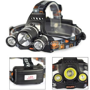Wholesale-High Power New Boruit RJ-3000 5000LM 3x CREE XM-L T6 LED Headlamp Head Light Lamp+ Charger