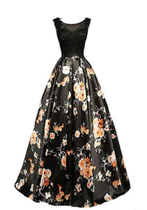 Elegant Printed Floral Black Evening Dresses Ball Gowns Sheer Pageant Lace Illusion Bodice 2018 Long Party Prom Dresses Robe De Soiree on Sale