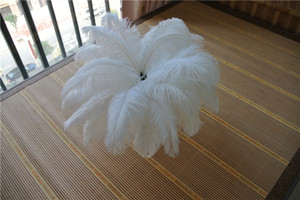 Wholesale white feather home decor resale online - 50pcs white Ostrich Feather Plume for Wedding centerpiece christmas feather decor wedding home table decor party supply