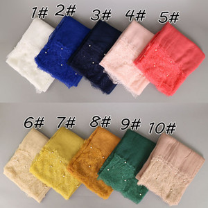 women lace pearl cotton shawls solid color long muslim hijab wrap headband muffler scarves scarf 20 colors 190*100cm YW50 on Sale