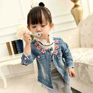 Wholesale Children Jacket Korean Girl Dress Kids Jackets Girls Coat Childrens Clothes Kids Clothing Spring Autumn Coat Flower Denim Jacket C6570
