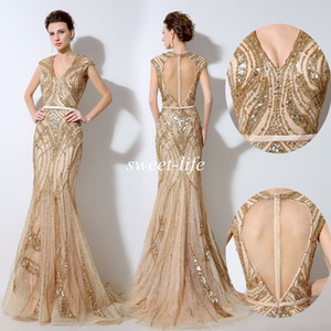 Vintage Gold Evening Dresses Luxury Sequins Beading Keyhole Back Sash Mermaid Tulle Cap Sleeves V Neck 2016 Bridal Formal Dress Prom Gowns on Sale