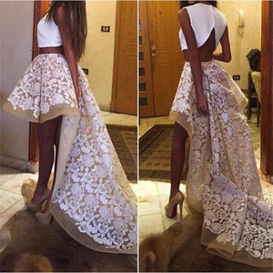 Wholesale Modest Two Pieces Dresses Party Evening High Low Appliques A Line Personalized Prom Dresses Ruffles Sweep Train Cocktail Party Dresses