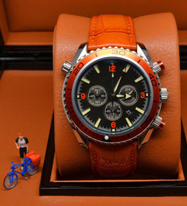 Wholesale big leather watches men resale online - Big Discount Hot Sale sports chronograph limited Watch Professional Planet Ocean Co Axial Dive Wristwatch Folding clasp Men Watches