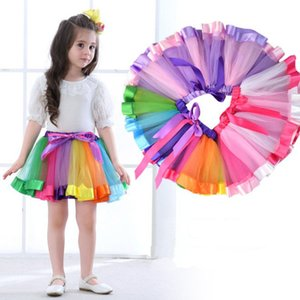 Wholesale New Children Rainbow Tutu Dresses Kids Lace Princess Baby Girls Skirt Pettiskirt Ruffle Ballet Dancewear Skirt Christmas Clothing