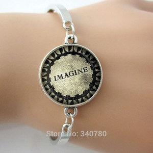 Wholesale John Lennon IMAGINE Mosaic Charm Pendant bangles Central Park Strawberry Fields New York City NYC Imagine Memorial bangles