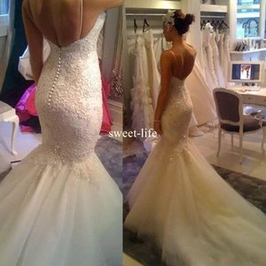 Sexy 2017 Mermaid Wedding Dresses Spaghetti Straps sleeveless Covered Button Lace Appliques Tulle Tiered Skirts Sweep Train Wedding Gowns on Sale