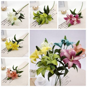 6 Colors LILY BUNCH Artificial Lilies Fake Silk Posy Wedding Flowers Bush Basket Fake Flower for Christmas Home Decorations Length 57cm