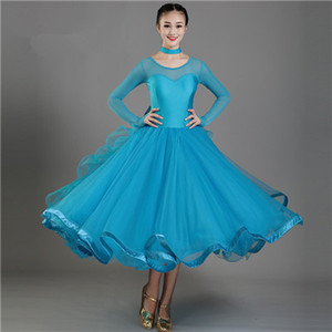 New Adult Ballroom Dance Dress Modern Waltz Standard Competition Dance Dress Sexy Round Neck Long Sleeve Dress 4Color S-2XL 004