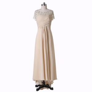 Chiffon Evening Dresses Champagne New Design Short Sleeves W4463 Real Made Beaded Long Mermaid Formal Gowns Scoop Pleated Sheer Modern Best on Sale