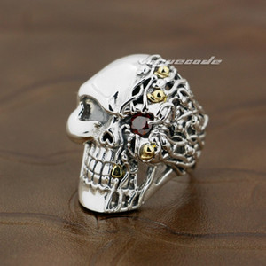 Wholesale mens sterling silver stone rings for sale - Group buy 925 Sterling Silver Red CZ Stone Eye Skull Mens Biker Ring V006 US Size to