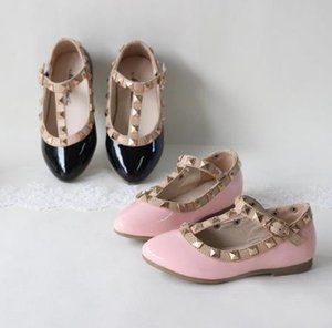 Children Shoes spring and summer PU leather princess shoes female child sandals cutout child single shoes breathable rivet t shoes on Sale