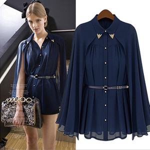 New Arrival 2016 Fashion ladies tops blouses Loose shawl cape-style chiffon cardigan sun protection off shoulder Shirts blouses for women