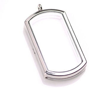 10PCS lot NEW 4 Colors 40MM Alloy Floating Locket Dog Tag Shape Memory Living Glass Lockets Necklace Pendant
