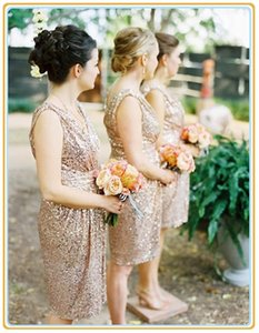 Sparkly Popular Rose Gold Bridesmaid Dresses Sequins Short Ruffles Knee Length Sexy Wedding Wear Bridesmaid Gowns Maxi Party Dress Arabic on Sale