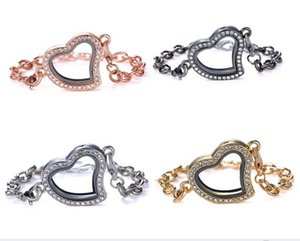 Wholesale New Magnetic Floating Locket Glass Heart Living memorial DIY jewelry colors Waterproof Stainless Steel Glass locket bracelets