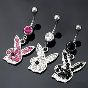 Belly Button Navel Rings Body Piercing Jewelry Dangle Accessories Fashion Crystal Rhinstones Charm Playboy Rabbit 3 Colors 10PCS
