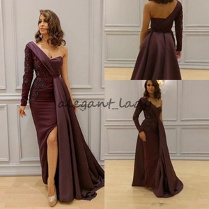 Wholesale Elegant Burgundy Arabic Dresses Evening Wear One Shoulder Appliques Split Side Formal Dress Sleeves Floor Length Long Prom Gowns