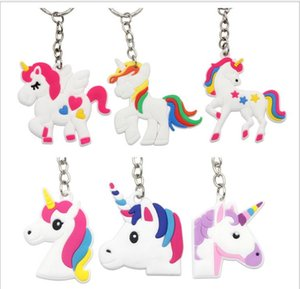 Unicorn Keychain Cute 6 Designs Animal Horse Pony PVC Keychains Women Bag Charm Key Ring Pendant Gifts High Quality K288