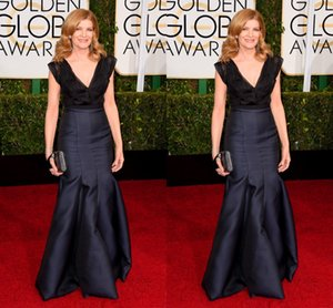 72nd Golden Globe Rene Russo Satin V-neck Navy Blue Long Pleats Evening Prom Party Evening Celebrity Dresses on Sale