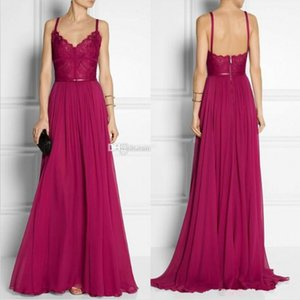 Red Chiffon Evening Dresses With Spaghetti Straps Low Back Lace Bodice Gorgeous Formal Evening Gowns Sweep Train Custom made on Sale