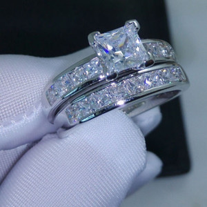 Luxury Size 5 6 7 8 9 10 Jewelry 10kt white gold filled Topaz Princess cut simulated Diamond Wedding Ring set gift with box