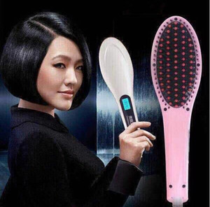 Wholesale led hair straightening brush resale online - Beautiful Star White Pink Straightening Irons Come With LED Display Electric Straight Hair Comb Brush US EU AU UK Plug with Black Box