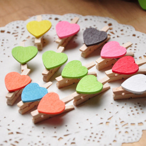 Wholesale Mini Cute Heart Shape Wooden Clips Daily Crafts Party Wedding Table Favour home garden decoration