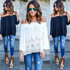 Womens White Lace Chiffon T Shirts Casual Loose Shirts Sexy Off Shoulder Long Sleeve Tops Boho Cover Up S-2XL