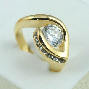 Wholesale 1 Newest Heart shaped Fashion K gold plated round zircon cut crystal woman ring gift Wedding Ring