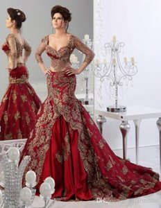 Wholesale Hot Sale Fashion Prom Dresses Sweetheart 3 4 Sleeve Dark Red Mermaid Appliques Saudi Arabic Evening Dresses Backless Sexy Evening Gowns