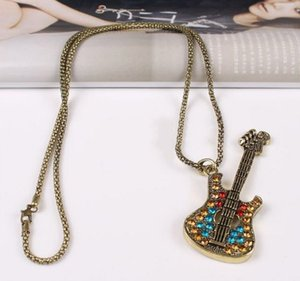 Fashion Jewelry Pendant Necklaces Retro Multicolor Rhinestone Guitar Gold Plated Fatima Hand Layer Chains Bar Beads Strip Guitar Free DHL