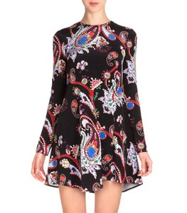Fashion Print Women Shift Dress 3 4 Sleeves Round Neck Dresses 15091589E on Sale