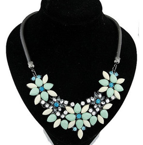 Wholesale Fashion Summer Jewelry Black Link Chain Choker Statement necklaces Women Gem Stone Flower Necklaces Pendants Vintage Colar