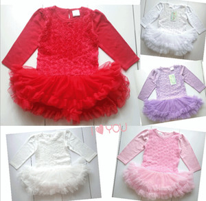 Wholesale 5 colors BABYPLUS baby Long sleeve ruffles dress bloomers Baby Rose Flower Lace Romper Tulle Dress kids One Piece jumpsuits baby clothes