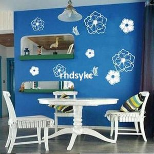 10pcs Supply of super explosion models Taobao LX001 white flower on black PVC transparent film Wall Stickers