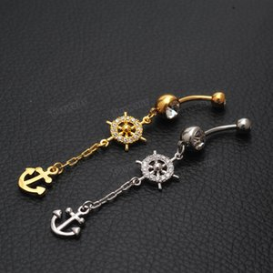 Wholesale Tuswans Fashion Anchor amp Rudder Belly Button Rings L Surgical Steel Navel Piercing Long Dangle Body Piercing Jewelry TSBJ011