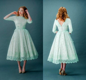 Wholesale Mint Green Prom Dresses Lace High Neck Tea Length Half Long Sleeves Bridal Gowns with Covered Button Back Masquerade Party Dresses