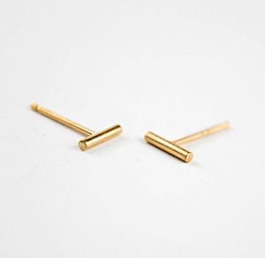 1Pair- S005 Gold Silver plated tiny bar stud earring unique Simple Stick Column bar earrings Cylinder stud jewelry 8mm10mm12mm