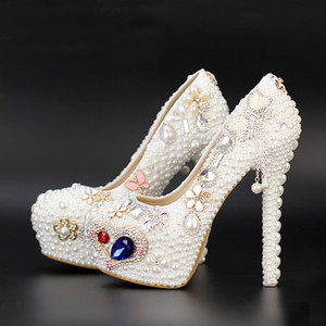 Wholesale White Pearl Waterproof Wedding Shoes Newest Diamond Bride Shoes Women High Heels Nightclub Platform Dress Shoes Tassel