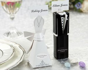 Wholesale Tuxedo Dress Groom bridal Candy Box Wedding Favor Boxes Wedding Place Card Holders