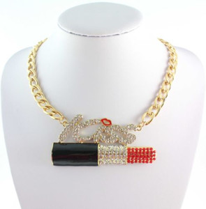 Wholesale Huge Sexy Red LIPSTICK Lips KISS Letters Rhinestone Pendant Gold Chain Necklace