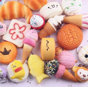Wholesale 10pcs Kawaii Squishies Bun Toast Donut Bread for cell phone Bag Charm Straps mixed Rare Squishy slow rising lanyard scented