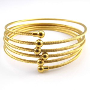 Wholesale New Trendy Options K Yellow Rose Gold Plated Stainless Steel Love nail screw Jewelry Bracelet Bangle For Women